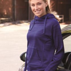 8662 Women's Odyssey Striped Performance Fleece Lapover Hooded Sweatshirt Thumbnail